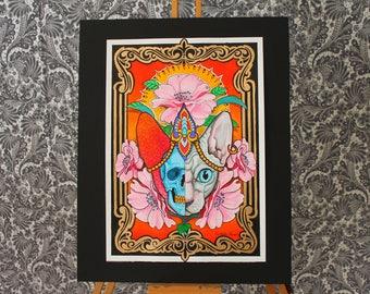 Sphynx Skull - neo traditional tattoo art flash print