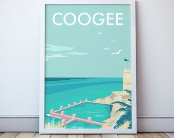 Coogee Vintage Style Seaside  Travel Print/ Poster