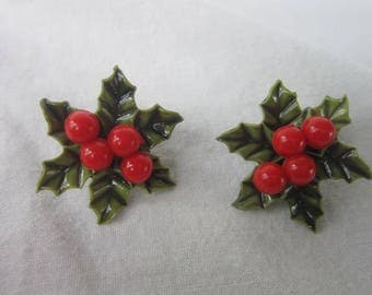 Vintage Christmas Holy with Red Berries Enameled Clip on Earrings Perfect for the Holidays