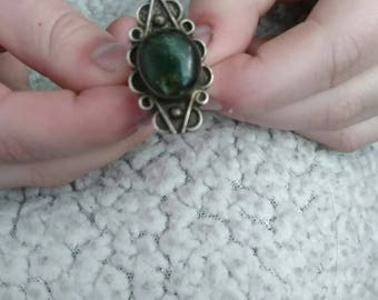 Vintage 925 sterling silver ring green gem ring sterling ring antique style ring