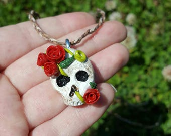 Skull and Rose Pendant Necklace