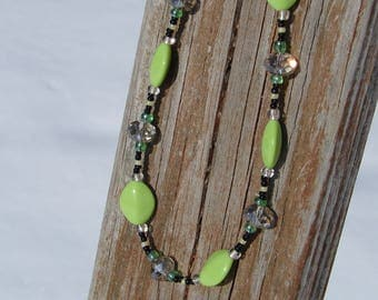 Lime Green and Clear Beaded Necklace