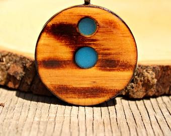 Wooden Pendant w/ Blue Glow In The Dark Powder