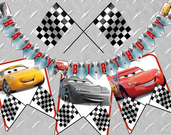 CARS 3 BIRTHDAY BANNER Printable Digital Cars Birthday Decorations, Cars 3 Party, Cars Banner, Cars 3 Banner, Cars Bunting, Cars 3 Bunting