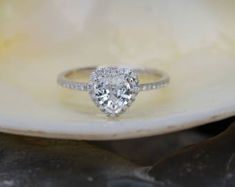 Heart engagement ring white sapphire ring promise ring anniversary ring by Eidelprecious Free shipping