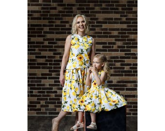 """Lemon dress for girls """"Matching mommy daughter outfit"""""""