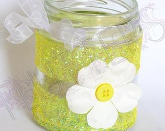 Glass Jar Glitter Tea Light holder