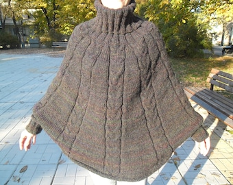 Hand knitted mohair poncho