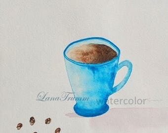Coffee in blue cup/coffee beans