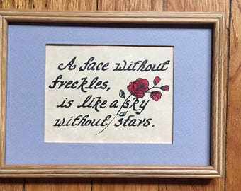 Freckles & Stars hand-written picture