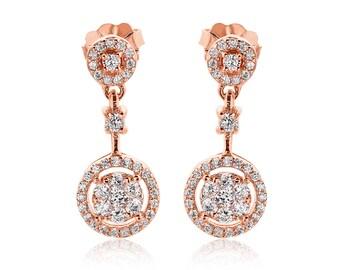 14k Rose Gold Plated Ladies Sterling Silver Fancy Cluster Earrings