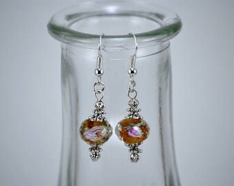 Floral Amber Faceted Crystal with Silver Accented Drop Earrings