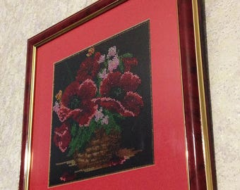 """Picture embroidered with beads """"Poppy""""."""