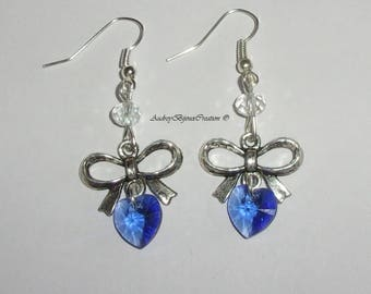 Node and Sapphire swarovski crystal heart earrings