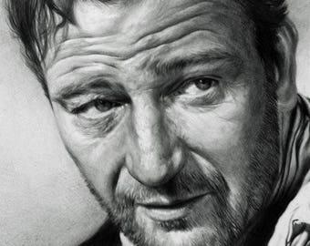 John Wayne The Duke Movie Portrait Signed Pencil