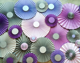 Purple Grey/Gray Backdrop Paper Rosettes Paper Fans Pinwheel Decorations Birthday Party