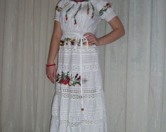 "Embroidered plat'e""CVETY in AZhURE""plat'e boho dress with embroidery"
