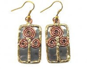 mixed metal earrings, copper brass earrings, unique earrings, nickle free, handmade, boho chic