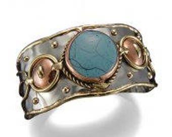 Mixed Metal  Bracelet with Blue Stone, mixed metal cuff bracelet, brass copper bracelet, nickle free, handmade, boho chic, leaves bracelet