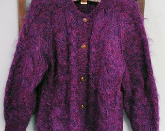sweater, cardigan in purple mohair blend, size medium on the small side