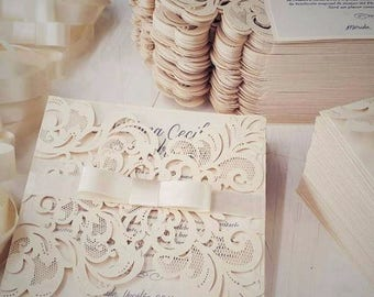 Sample Laser Cut Victorian Lace Ribbon Wedding Invitations with intricate fold outs – Vintage & Romantic , Available in 30+ colors