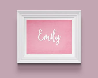 Little bundle Names - Emily. Baby Girl Name Print, Nursery Art, Nursery Wall Decor, Baby Shower Gift, Name Art Print, Instant Download, A4