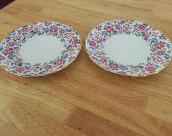 Crown Staffordshire Salad/Luncheon Plate, Springtime, Set of 2