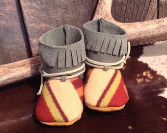 Blue/Cream Children's Moccasins made with Pendleton Wool and Leather, Size 2, 3-6 Months, Toddler, Shoes, Slippers, Booties