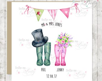Wedding Wellies card with top hat, flowers, bunting and personalisation