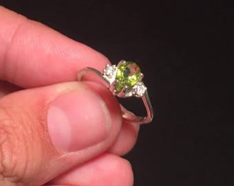 Pear Cut Peridot with Diamond Accents in Sterling Silver Size 7