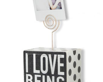 Sarco&Friends Home Decor 3'' by 4'' Photoblock with Rustic Wire to Hang Pictures, Photographs, and Polaroids - Perfect for Brightening Home