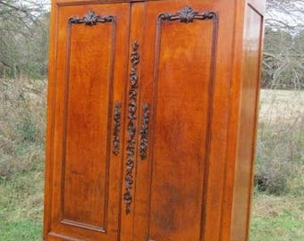 Vintag French Counrty Carved Louis Provincial Armoire Wardrobe  Cupboard