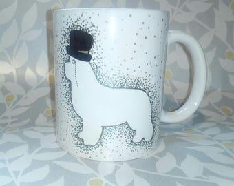 Hand painted Newfoundland dog confetti mug. Mr Newf