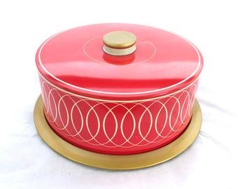 Vintage Retro 1950's Cake Tin Red and Gold Metal /  Tin Cake Carrier Saver