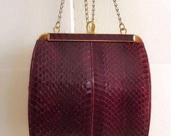 Small side bag, Made of snake skin, Burgundy, Excellent vintage condition