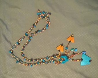 Crocheted Beaded necklace with butterflies