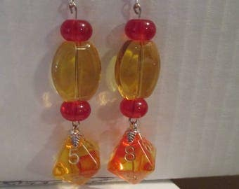 Dice Earrings Glass Beads D8