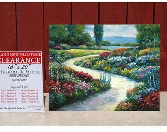Art Print By JOHN ZACCHEO LAKESIDE Path ZA0309 - Square Deal - Buy 2 Get 2 Free -Buy 4 Get 12 Free -Buy 7 Get 42 Free -Buy 10 Get 90 Free