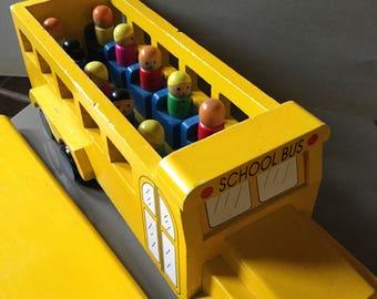 School bus wooden vintage toys