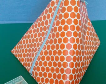 Toiletry bag/Bikibag resin fabric polka dot Orange