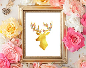 Faux Gold Foil Deer Head with Flowers, Instant Downloadable Print, Wall Art, Girly, Animal Prints, Faux Gold Foil Decor
