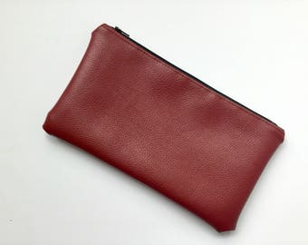 Cruelty free small burgundy vegan leather clutch