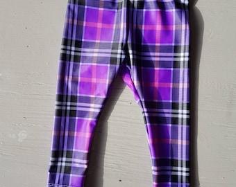 Purple Checked Leggings