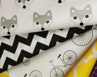 Cotton fabric,baby fabric,sewing fabrics,black and white fabric,monochrome fabrics,scandinavian fabrics,chevron print,foxes print