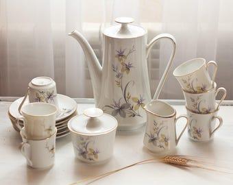 Coffee porcelain, white with floral motifs, Bavaria, Eschenbach