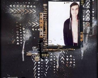 PREMADE 12x12 Mixed Media Boy Scrapbooking Layout