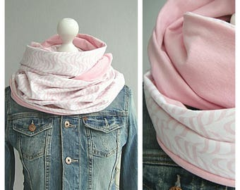 Loop, circle scarf, Pink/White