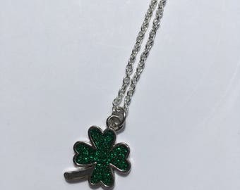 Green Shamrock Pendant with Silver Chain