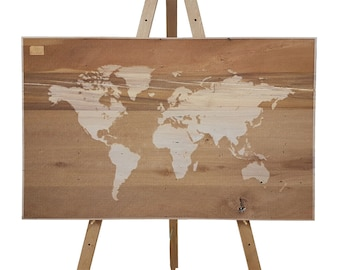 World Map on Recycled Rimu