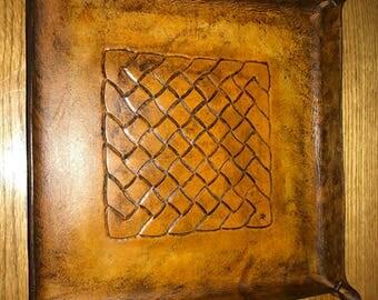 "Valet tray catch all EDC tray pocket dump station with celtic knot 10""x10"""